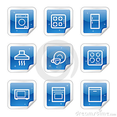 Home appliances web icons, blue sticker series