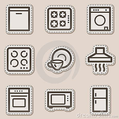 Home appliances web icons, brown contour sticker