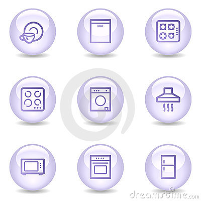 Home appliances web icons, glossy pearl series