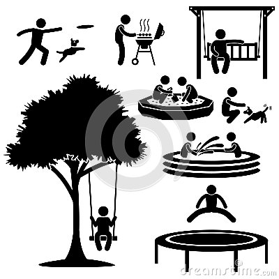 Home Backyard Activity Pictogram