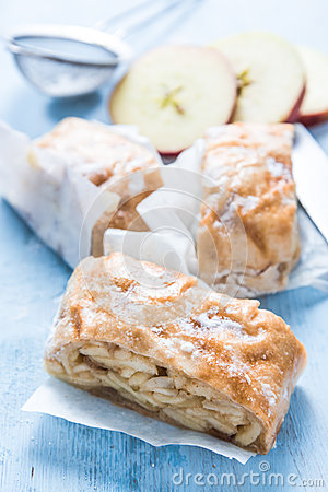 Free Home Baking, Apple Strudel With Ingredients Royalty Free Stock Photo - 67046485