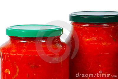 Home canned vegetables in jars