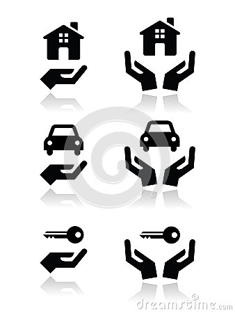 Home, car, keys with hands icons set