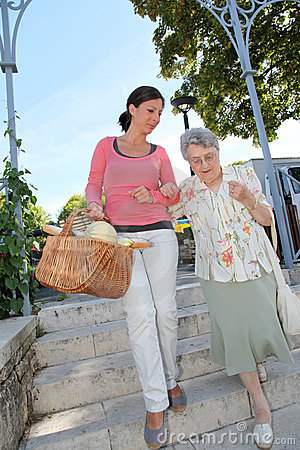Free Home Carer With Elderly Person In Town Royalty Free Stock Photo - 15453845