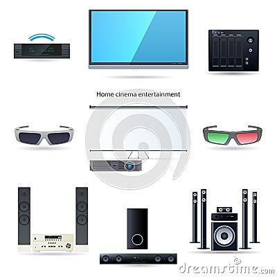 Home cinema entertainment set