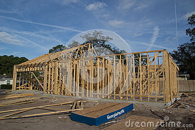 Home construction editorial stock image for American classic homes jacksonville