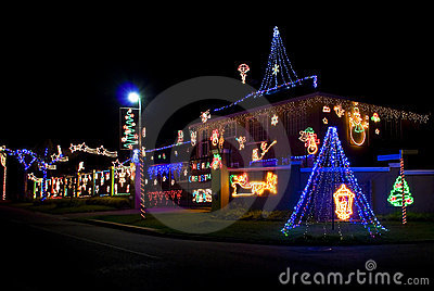 Home Decorated with Xmas Lights