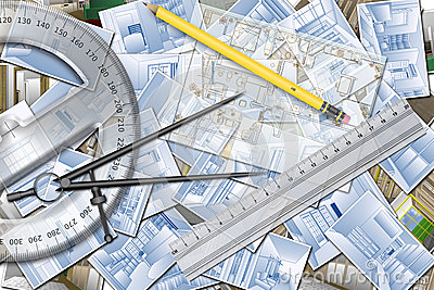 Illustration About An Architecture Project For Home Design Plan With Paper Projects And Design Tools Ruler Pencil Protractor And Compass