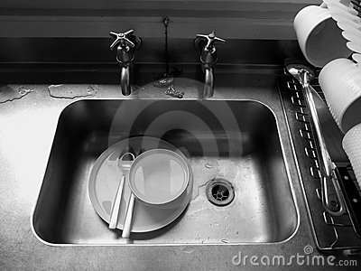Home: dirty dishes in sink
