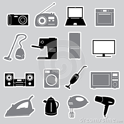 Home electrical appliances stickers set eps10