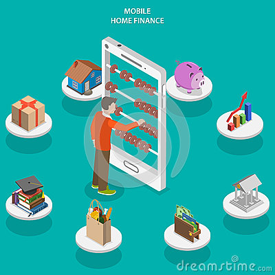 Free Home Finance Flat Isometric Vector Concept. Stock Photo - 61405110