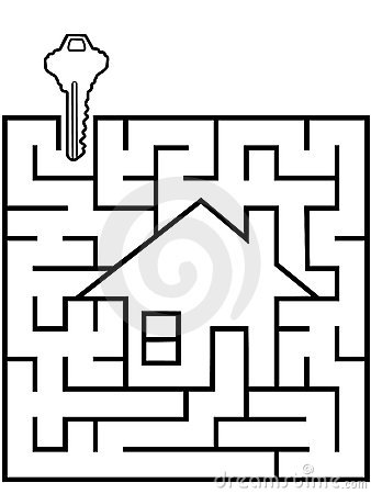 Free Home Finder Maze Puzzle With House Key Royalty Free Stock Photography - 7903337