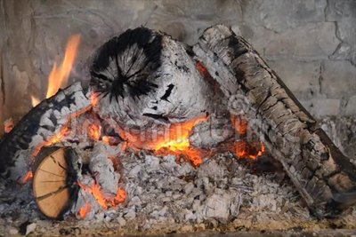 Home fireplace. Burning logs in home fireplace stock video footage
