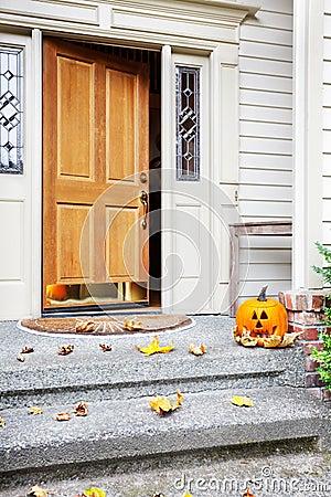 Home front door at Halloween