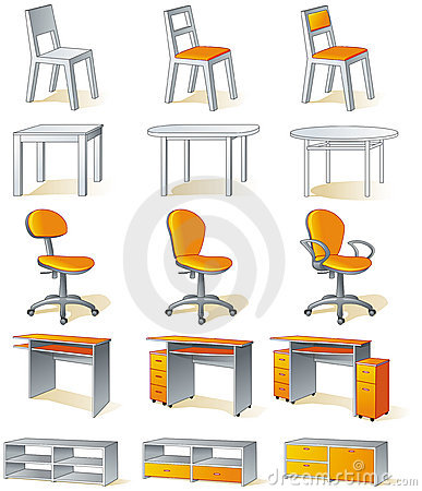 Home furniture isolated - chairs, tables