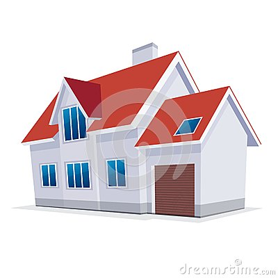 Home with garage. Vector Illustration. icon