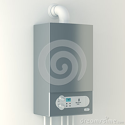 Free Home Gas-fired Boiler. The Installation Of Gas Equipment. Royalty Free Stock Photography - 33457177