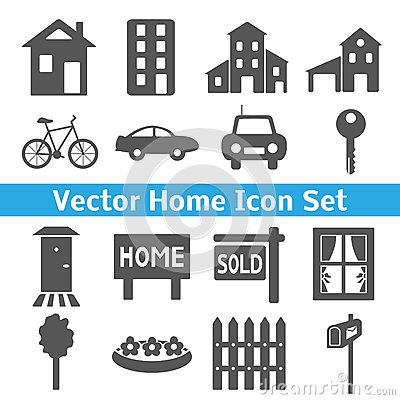 Home icons set. Real estate.