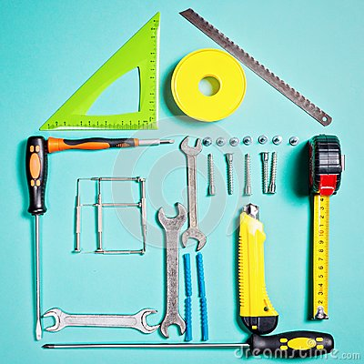 Free Home Improvement Concept. Set Work Hand Tool For Construction Or Repair Of House Royalty Free Stock Photo - 101478615