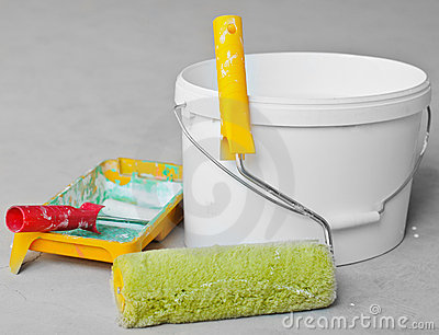 Home Improvement Paint Roller And Paint