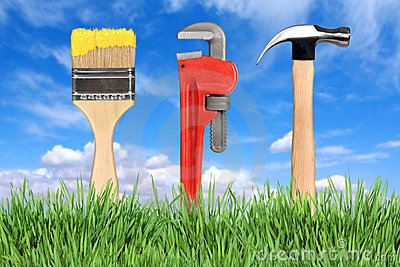 Home Improvement Tools Paintbrush, Pipe Wrench