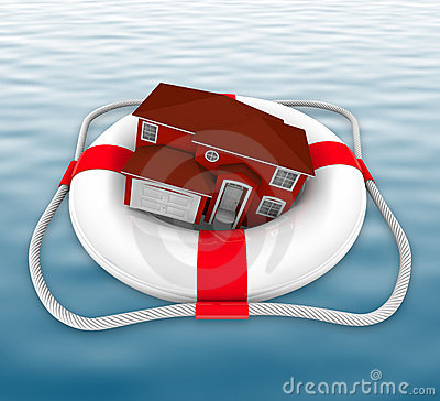 Free Home In Life Preserver On Water Royalty Free Stock Image - 14860276