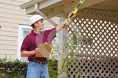 Home inspector house building repair contractor Stock Photo