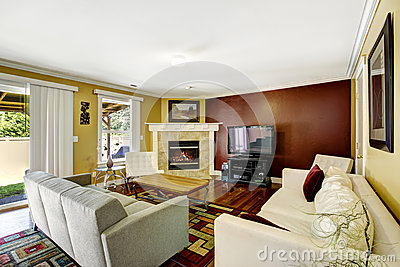 Home interior with contrast color walls stock photo image 44237407 - Home interior wall color contrast ...
