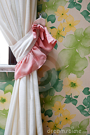 Home Interior - Curtains With Flower Wallpaper