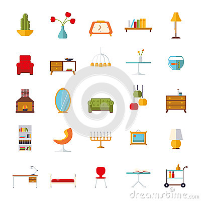 Home interior flat design vector icons collection stock vector image