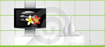 Home Interior - LCD tv on the wall and decorations
