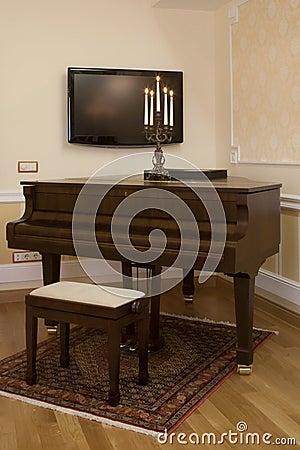 Home interior with piano
