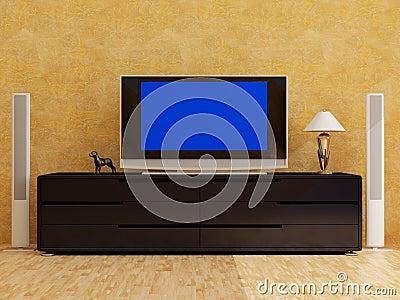 Home interior with plasma tv