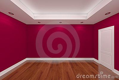 Home interior rendering with empty room color wall