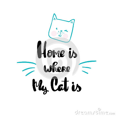 Free Home Is Where My Cat Is Lettering Hand Drawn Royalty Free Stock Photos - 95898648
