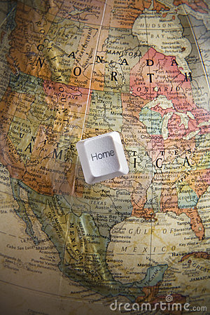 Home key on an earth globe