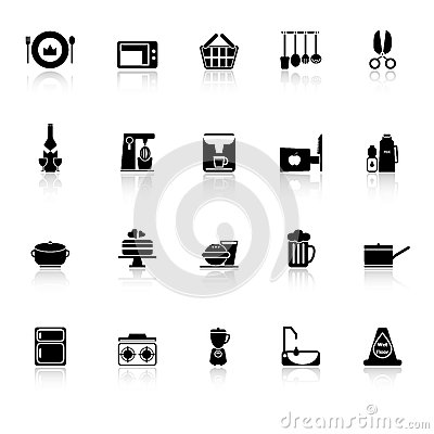Home kitchen icons with reflect on white backgroun