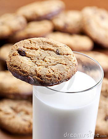 Home made cookies and milk