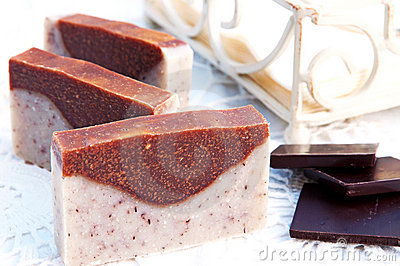 Home-made soap sandalwood and chocolate
