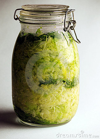 Home made sour cabbage in jar