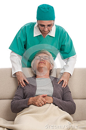 Home massage nurse and old woman