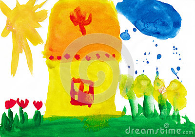 Home and meadow. Child drawing.