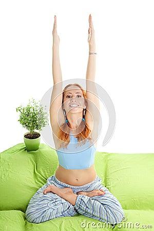 home morning yoga exercise stock photo  image 16592020