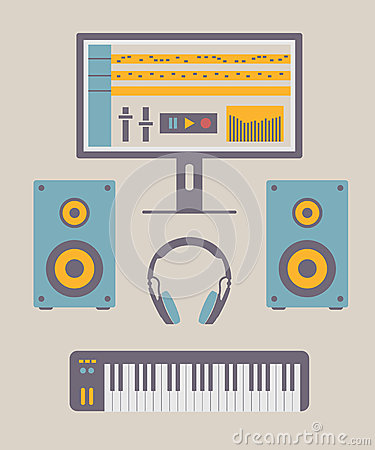 Home music studio stock vector image 51806528 for House music styles
