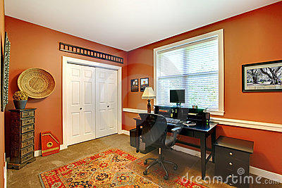 Home office interior design with orange.