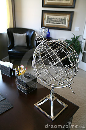 Home Office Interior (Focus on Globe)
