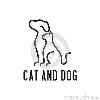 Home Pets Minimalist Monoline Lineart Outline Dog Cat Icon Logo