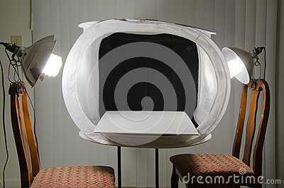 Home photography studio light box with lights