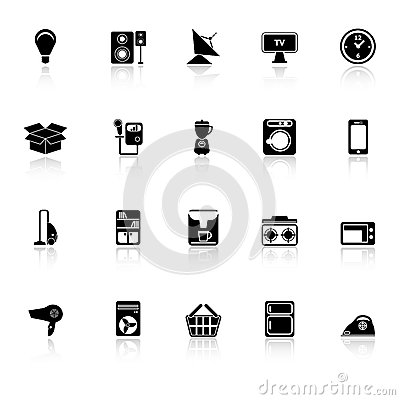 Home related icons with reflect on white backgroun