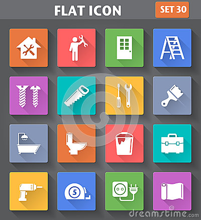 Free Home Repair And Tools Icons Set In Flat Style With Long Shadows. Stock Image - 45973681